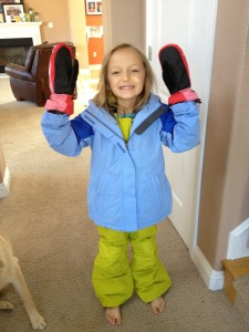Elfie's bright new snow gear