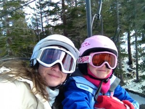 Mom and Elfie on the lift