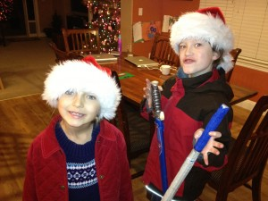 Newt and Elfie Getting their Santa On