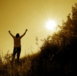 person raising arms in air victory