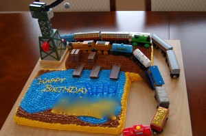 Thomas Train cake -- DIY loading dock with toy trains