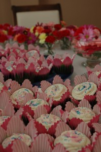 Cupcakes in flower cups