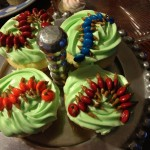 Creepy Centipede cupcakes with M&Ms