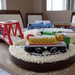 DIY Thomas Train snowy winter cake with toy trains