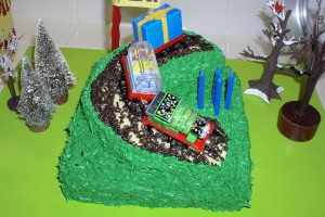 DIY Thomas Train hill cake with toy trains