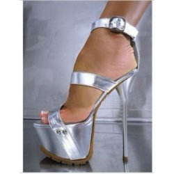 silver platform shoe african american