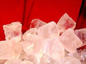 Ice cubes on red