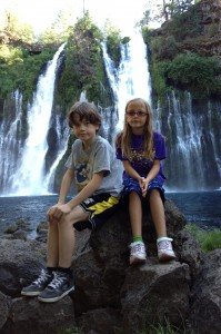 Kids at Burney Falls, CA