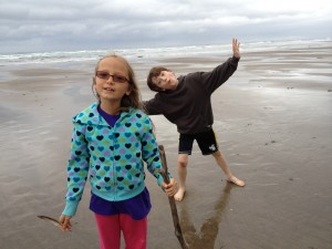 Kids at beach, Nehalem Bay, Oregon