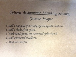 Potion assignment for Harry Potter Party using vinegar and baking soda