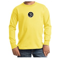 Kids Yoga T-shirt Aum Patch Sanskrit Youth Long Sleeve Shirt
