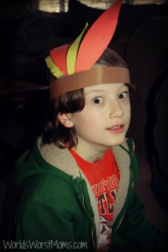 Thanksgiving paper Native American headband