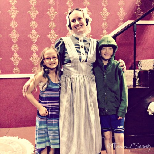 With my kiddos, on the set of The Heiress.